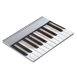Digital piano keyboard spiral note book