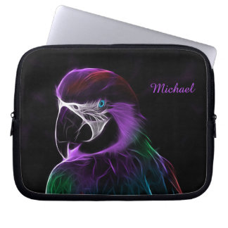 Digital purple parrot fractal laptop sleeve
