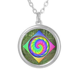 Digital Rainbow Squiral in the Forest Silver Plated Necklace