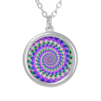 Digital Rainbow Squiral Silver Plated Necklace