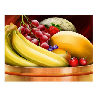 Digital Rendered Fruit Basket Postcard