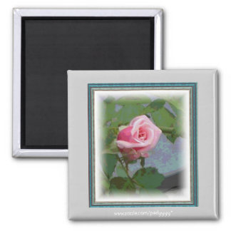 Digital Rosebud Square Magnet
