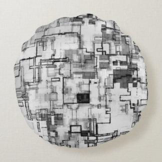 Digital Urban Circuit Design Round Cushion