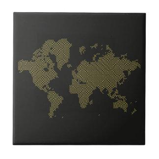 Digital World Map Ceramic Tile