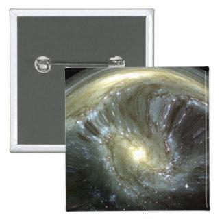 Digitally altered galaxy 15 cm square badge