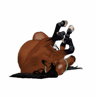 Digitally Drawn Bay or Brown Horse Rolling on Back Photo Sculpture Magnet