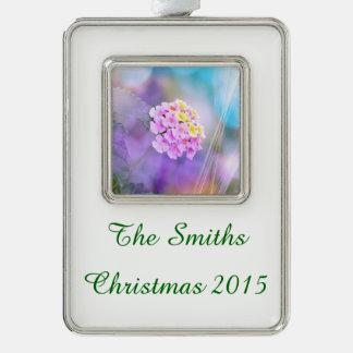 Digitally Enhanced Flower Silver Plated Framed Ornament