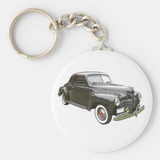 Digitally enhanced image of a black 1941 Plymouth Basic Round Button Key Ring