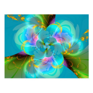 Digitally more flower pastell turquoise designed postcard