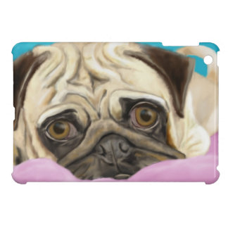 Digitally Painted Pug with Sad Eyes Lying on Rug Cover For The iPad Mini