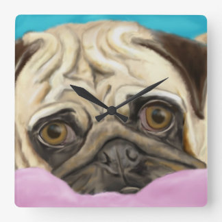 Digitally Painted Pug with Sad Eyes Lying on Rug Square Wall Clock