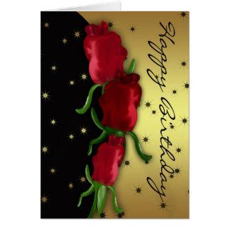 Digitally Painted Rose Bud Birthday Card - Rose Bu