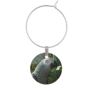 Dignified African Grey Parrot Wine Glass Charms