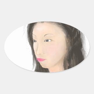 Dignified [japanese kanji] oval sticker