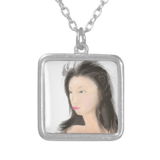 Dignified [japanese kanji] silver plated necklace