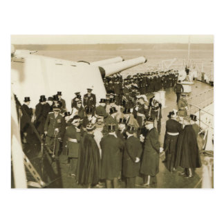 DIgnitaries aboard battleship  Remembrance Day Postcard