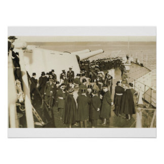 Dignitaries on deck at Remembrance Day ceremony Print