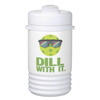 """""""Dill With It"""" Pickleball Water Jug Cooler"""