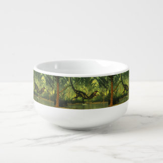 Dilong dinosaur in a forest soup mug