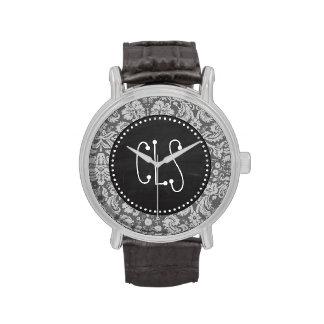 Dim Gray Damask; Retro Chalkboard Wristwatches