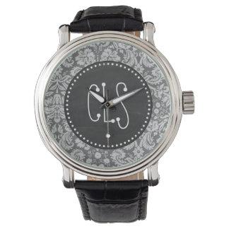 Dim Gray Damask; Retro Chalkboard Wrist Watches