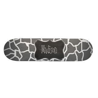 Dim Gray Giraffe Animal Print; Chalkboard Skateboard Deck