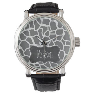 Dim Gray Giraffe Animal Print; Chalkboard Watch