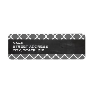 Dim Gray Quatrefoil; Chalkboard look Return Address Label