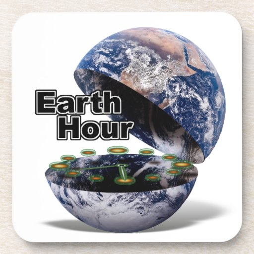 Dim The Lights For Earth Hour (Earth Open) Beverage Coaster