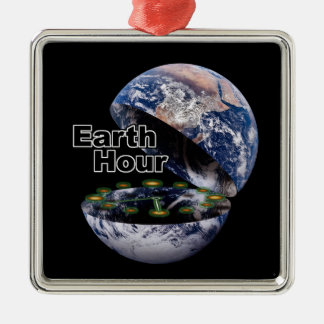 Dim The Lights For Earth Hour (Earth Open) Christmas Tree Ornament