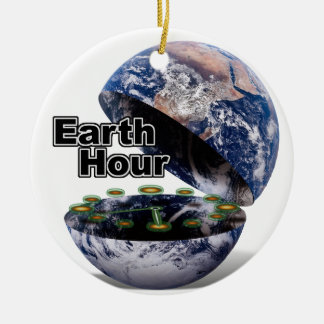 Dim The Lights For Earth Hour (Earth Open) Christmas Tree Ornaments