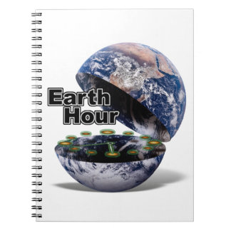 Dim The Lights For Earth Hour (Earth Open) Spiral Notebooks