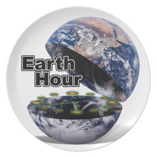 Dim The Lights For Earth Hour (Earth Open) Dinner Plates