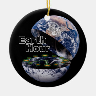 Dim The Lights For Earth Hour (Earth Open) Round Ceramic Decoration
