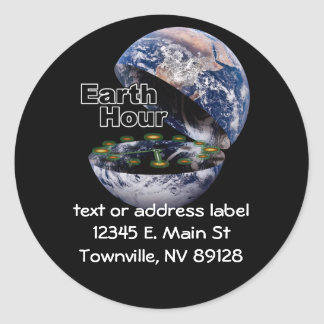 Dim The Lights For Earth Hour (Earth Open) Round Sticker