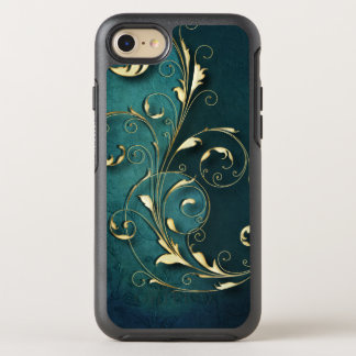 Dimensional Gold Scrolls on Deep Blue Damask OtterBox Symmetry iPhone 8/7 Case
