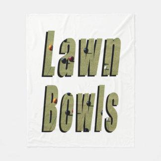 Dimensional Lawn Bowls Logo On White, Fleece Blanket