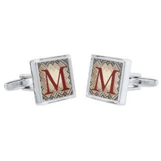 Dimensional Square-M Silver Finish Cuff Links