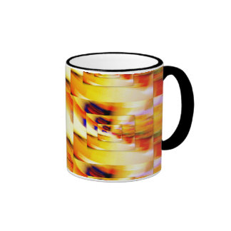 DIMENSIONS IN ORANGE YELLOW WHITE AND BLACK COFFEE MUG