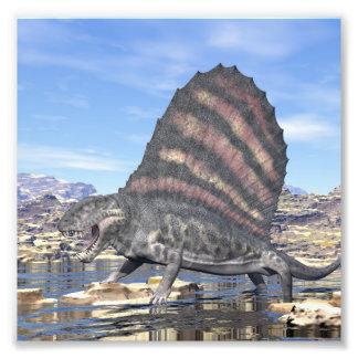Dimetrodon in the desert - 3D render Photo Print