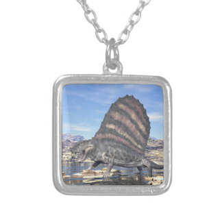 Dimetrodon in the desert - 3D render Silver Plated Necklace