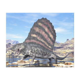 Dimetrodon standing in a pond in the desert canvas print