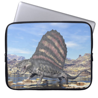 Dimetrodon standing in a pond in the desert laptop sleeve