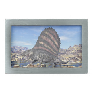 Dimetrodon standing in a pond in the desert rectangular belt buckle