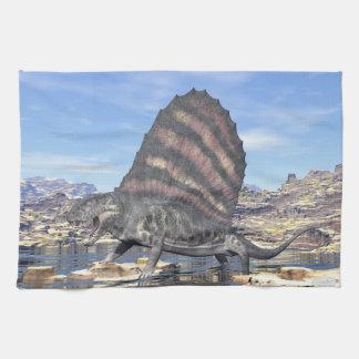 Dimetrodon standing in a pond in the desert tea towel
