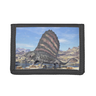 Dimetrodon standing in a pond in the desert tri-fold wallet