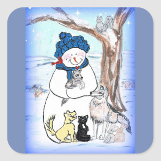 Dimples the Snowman and the Ice Pond Square Sticker