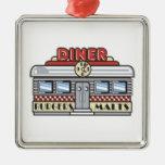 Diner Silver-Colored Square Decoration