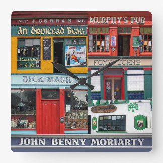 Dingle Pubs Collage, Irish Clock. Ireland Square Wall Clock