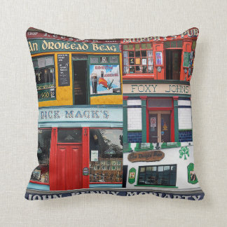 Dingle Pubs, Collage, Irish Pillow. Ireland Throw Pillow